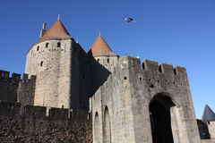 Carcassonne castle. Medieval city of Carcassonne,Languedoc region of France Royalty Free Stock Image