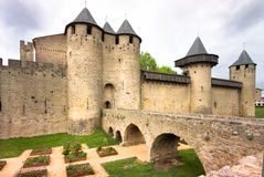Carcassonne Castle in a gloomy mood Royalty Free Stock Photo