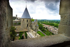 Carcassonne Castle in a gloomy mood Stock Photos