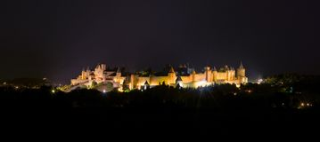 Carcassonne castle at night Stock Photo