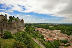 Carcassonne citadel fortification and outside. Carcassonne is a medieval fortified city in southern France (Aude department Royalty Free Stock Image
