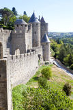 Carcassonne city surrounded of trees and grass Stock Images