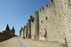 Carcassonne city walls. The road between the two layers of the medieval city's of Carcassonne walls stock images
