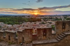 Carcassonne with City Walls Stock Photography
