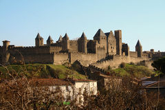 Carcassonne, de oude stad, Frankrijk stock foto's