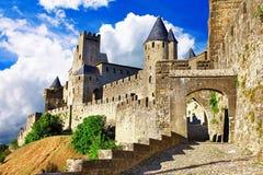 Carcassonne, die meisten größten forteress Stockbild
