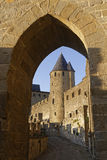 Carcassonne through the door Royalty Free Stock Photo