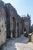 Carcassonne - eindrucksvolle Stadtfestung in Frankreich stockbild