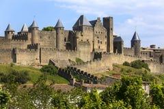 Carcassonne fästning - Frankrike arkivfoto