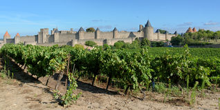 Carcassonne. Is a fortified French town in the Aude department, of which it is the prefecture, in the Region of Languedoc-Roussillon Royalty Free Stock Images