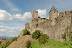 Carcassonne. Is a fortified French town in the Aude department, of which it is the prefecture, in the Region of Languedoc-Roussillon Stock Photos