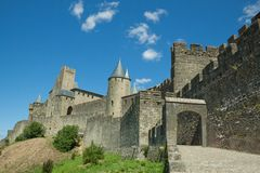 Carcassonne. Is a fortified French town and was founded by the Visigoths in the fifth century. The fortress was restored in 1853 by Eugene Viollet-le-Duc and is stock photos