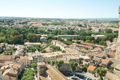 Carcassonne. Is a fortified French town and was founded by the Visigoths in the fifth century. The fortress was restored in 1853 by Eugene Viollet-le-Duc and is Stock Photo