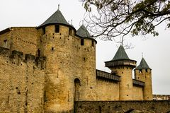 Carcassonne is a fortified medieval citadel located in the French city of Carcassonne.  royalty free stock photos