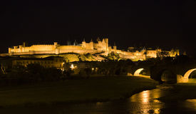 Carcassonne Fortress and Bridge Royalty Free Stock Images