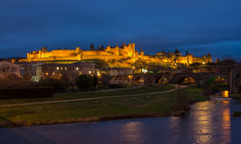 Carcassonne fortress illuminated at evening - France Stock Photography
