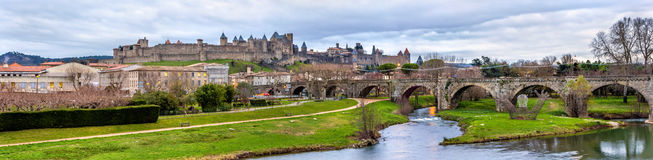 Carcassonne fortress and Pont Vieux - France Royalty Free Stock Images