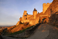 Carcassonne fortress at sunset Royalty Free Stock Photo