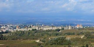 Carcassonne fortyfikował miasteczko, Francja Zdjęcia Royalty Free