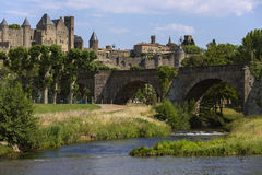 Carcassonne - France. The medieval fortress and walled citadel of Carcassonne in south west France. Founded by the Visigoths in the 5th century, it was restored stock image