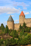 Carcassonne (France). Two towers of the fortified city of Carcassonne (France Stock Photos