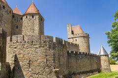 Carcassonne, France. The city walls and towers of the inner ring of fortifications. UNESCO List Royalty Free Stock Photo