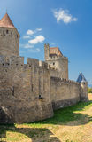 Carcassonne, France. The city walls and towers of the inner ring of fortifications. UNESCO List Stock Photography