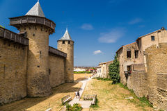 Carcassonne, France. Comtal castle and houses in the fortress. UNESCO List Stock Photos