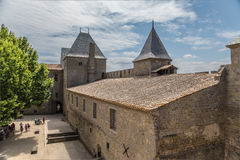Carcassonne, France. The courtyard of the castle Comtal in the fortress, 1130 Royalty Free Stock Images