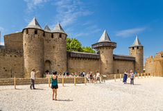 Carcassonne, France. Entrance gate of the castle Comtal. UNESCO List Stock Images