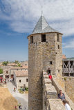 Carcassonne, France. Fortress tower of castle Comtal, 12th century Royalty Free Stock Image