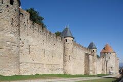 carcassonne france medeltida rampart royaltyfria bilder