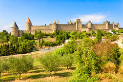 Carcassonne, France. The old city of Carcassonne, south of France royalty free stock photography
