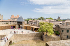 Carcassonne, France. Old Town and the Barbican, which protects the bridge leading to the castle Comtal Royalty Free Stock Images