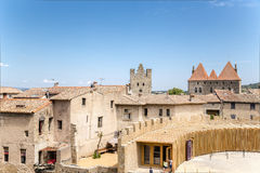 Carcassonne, France. Old Town, to the right of the part of barbican protecting the entrance to the castle Comtal Royalty Free Stock Images