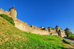 Carcassonne, France. The old walls of historical medieval city of Carcassonne, France Royalty Free Stock Photo