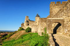 Carcassonne, France. The old walls of historical medieval city of Carcassonne, France Stock Images