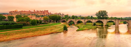 Carcassonne, France. Panoramic view of historical medieval city of Carcassonne, France Stock Photography