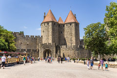 Carcassonne, France. Scenic Narbonne Gate, 1280. UNESCO list Stock Photo