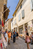 Carcassonne, France. Tourists in the streets of the old town Royalty Free Stock Photos