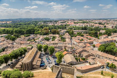 Carcassonne, France. View of the lower town from the fortress walls Stock Photos