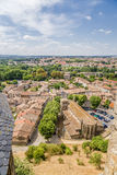Carcassonne, France. View of  lower town from the fortress walls of the upper town. Stock Photography