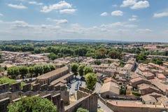 Carcassonne, Francja Krajobraz z antycznymi fortyfikacjami i miasto widokami obrazy stock