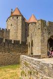 Carcassonne, Francja Widoku Narbonne brama, 1280 zdjęcie stock