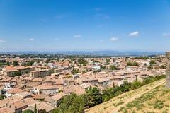 Carcassonne, Frankreich Ansicht der unteren Stadt Lizenzfreies Stockfoto