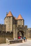 Carcassonne, Frankreich Ansicht-Narbonne-Tor, 1280 UNESCO-Liste Stockfotografie