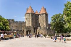 Carcassonne, Frankreich Szenisches Narbonne-Tor, 1280 UNESCO-Liste Stockfoto