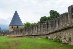 Carcassonne (Frankrijk), de muren Stock Foto