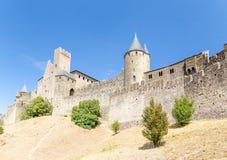 Carcassonne Frankrike Beskåda vallarna och slotten Comtal UNESCOlista arkivbilder