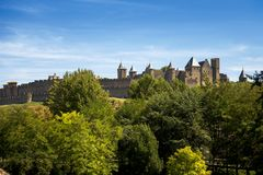Carcassonne - a fortified French town in the Aude department, Region of Languedoc-Roussillon, France, Unesco site. Carcassonne is a hill town located in the Royalty Free Stock Photo